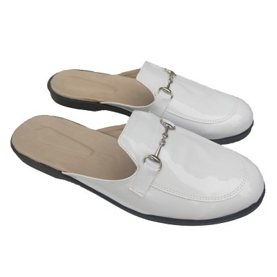 mules charol blanco mujer talles especiales