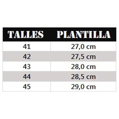 tabla talles de hombre