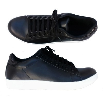 zapatillas negras talon brillos negros