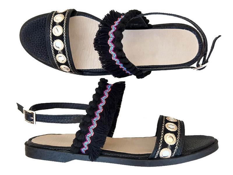 sandalias eco cuero negro