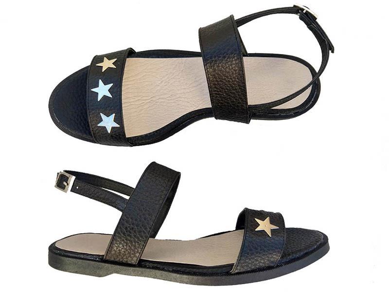 sandalias negras eco cuero