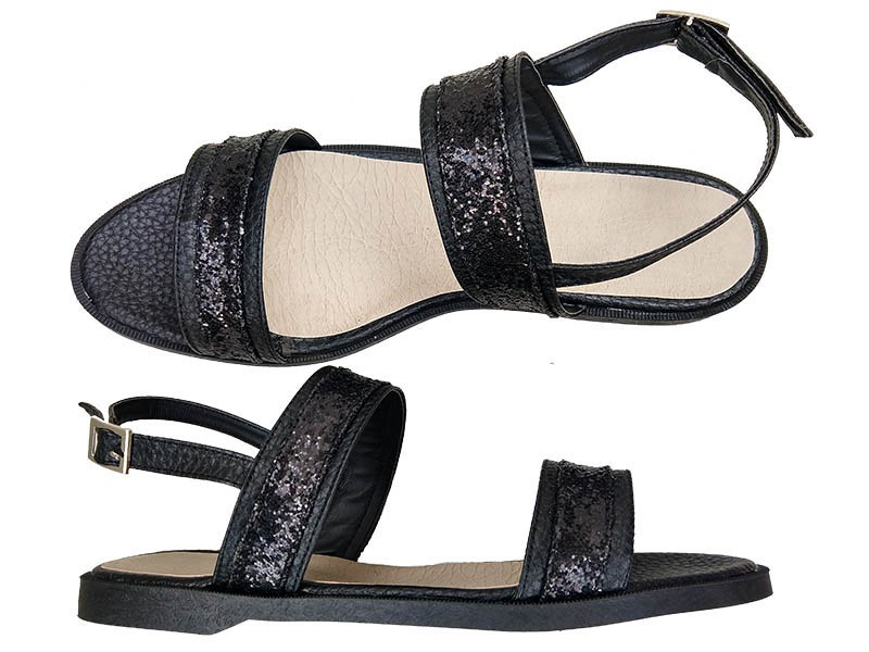 sandalias negras y glitter