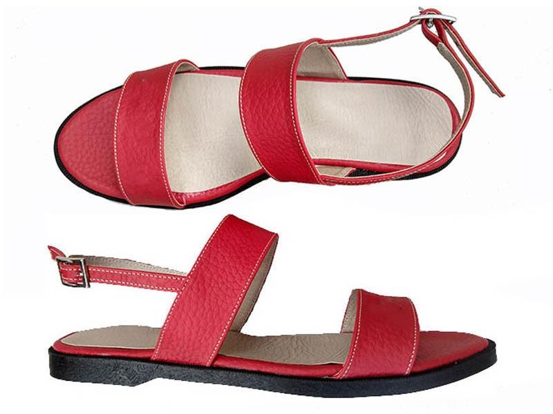 sandalias rojas simil cuero